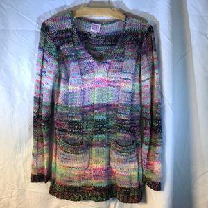 Hand knit Canyon River Blues sweater Sz M-L